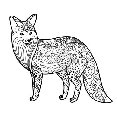 Stilisierte Fuchs In Doodles Musterstil Zentangle Vector Skizze
