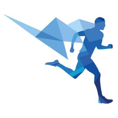 Poster Stilisierter Läufer, geometrisches Muster