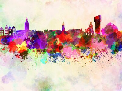 Stockholm skyline in watercolor background