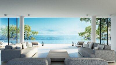 Poster Strand leben auf Seeansicht / 3d Rendering