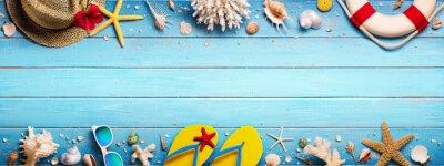 Poster Strandzubehör auf Blue Plank - Summer Holiday Banner