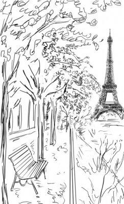 Poster Straße im Herbst in Paris. Eiffelturm -sketch Illustration