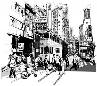 Poster Straße in Hong Kong - Vektor-Illustration (alle chinesischen Schriftzeichen sind frei erfunden)