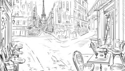 Poster Straße in Paris - Illustration