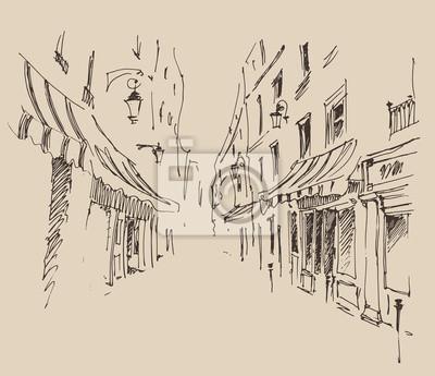 Straßen in Paris, Frankreich, Jahrgang eingraviert Illustration