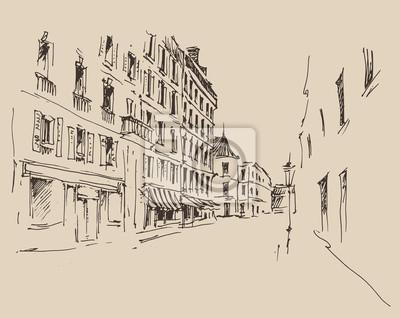 Straßen in Paris, Jahrgang eingraviert Illustration, Hand gezeichnet