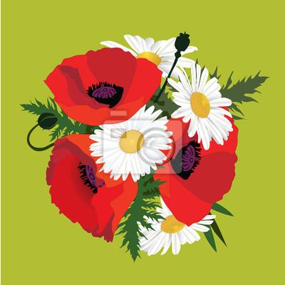 Strauß Mohnblumen und Gänseblümchen