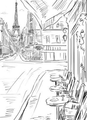 Poster Street in paris-Skizze Abbildung
