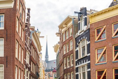 Street view of downtown in Amsterdam, Netherlands
