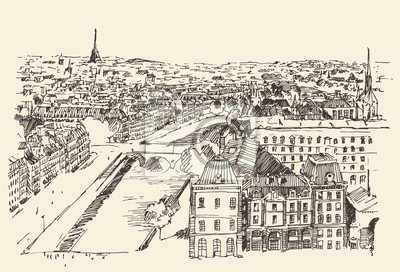 Streets in Paris, France, top view, vector illustrations