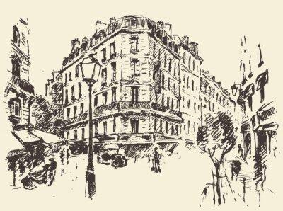 Poster Streets Paris Frankreich Vintage-Illustration gezeichnet