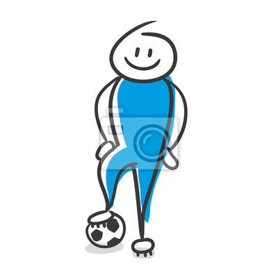 Strichmannchen Serie Blau Fussball Wandposter Poster