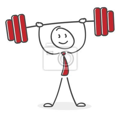 Strichmännchen trainiert gewichtheben mit dem langhantel im ...