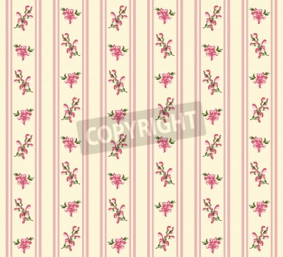 Poster Striped retro rose seamless in village style