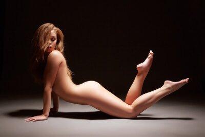 Poster Studio Foto von schlanken Mädchen posiert nackt