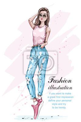 Poster Stylish Schöne Coole Mädchen In Sonnenbrille. Hand Gezeichnetes Mode  Mädchen. Hübsche Frau In