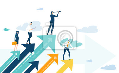 Poster Successful businessman standing on the arrow, which pointing up as symbol of achievement, success and developing business in successful way. Businessman looking forward with the telescope.