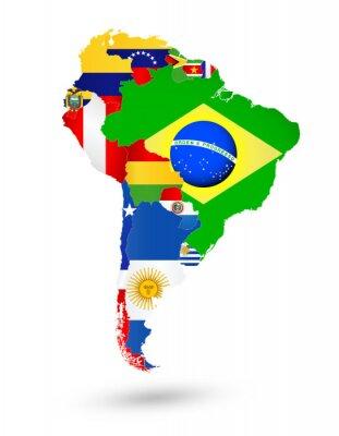 Poster Südamerika Karte mit Flaggen und Lage auf der Weltkarte