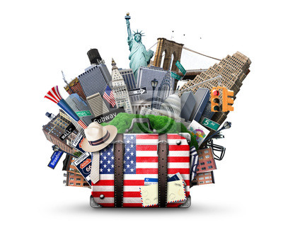 Poster Suitcase with American flag on the background of USA landmarks