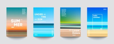 Poster Summer backgrounds set. Creative gradients in summer colors. Ocean horizon, beach and sunsets.