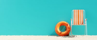 Poster Summer beach concept, chair with ring floating and pineapple on blue background. 3d rendering