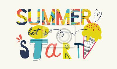 Summer lettering. Summer Typographic. Vector illustration.