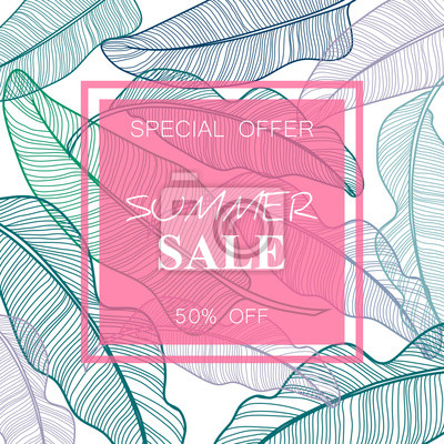 Poster Summer Sale banner, poster with palm leaves, jungle leaf. Beautiful vector floral tropical summer background