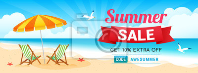 Poster Summer Sale Banner Vector illustration. Special coupon, Beach background.