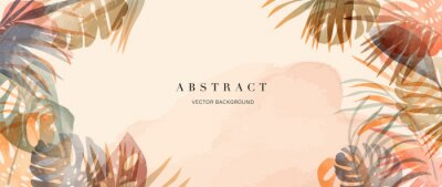 Poster summer tropical background vector. Palm leaves, monstera leaf, Botanical background design for wall framed prints, wall art, invitation, canvas prints, poster, home decor, cover, wallpaper.