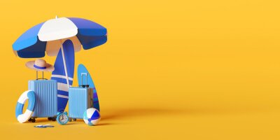 Poster Summer vacation concept, Beach umbrella and travel accessories on yellow background, 3d illustration