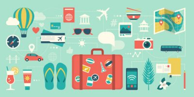 Poster Summer vacations and international traveling