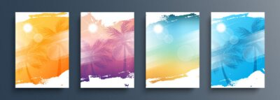 Poster Summertime backgrounds set with palm trees, summer sun and brush strokes for your graphic design. Sunny Days. Vector illustration.