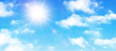 Poster Sunny Hintergrund, blauer Himmel mit weißen Wolken und Sonne