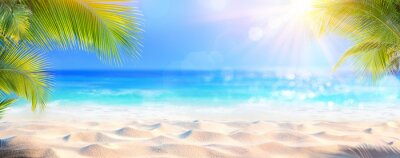 Poster Sunny Tropical Beach With Palm Leaves And Paradise Island