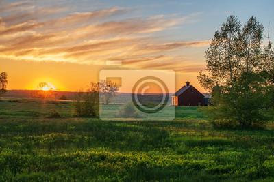 Poster sunrise over farm