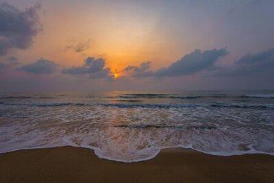 Poster Sunset. Beautiful sunset Baltic Sea. Painting Sea sunset. The sea at sunset. Amazing sea sunset. Sunset sea waves. Summer Sunset. Beautiful seascape evening sunset sea and sky horizon