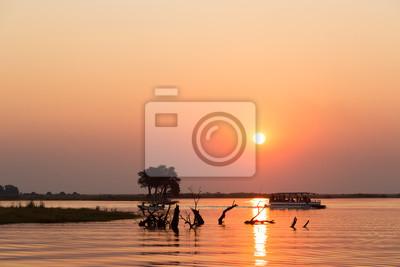 Sunset during a boat trip, at Chobe River, Botswana