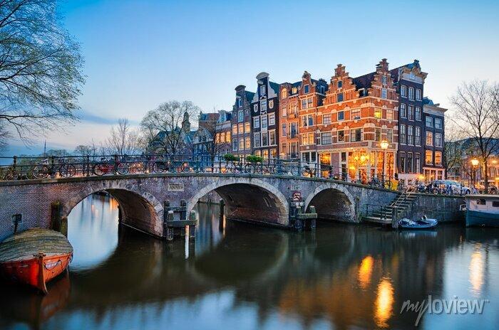 Poster Sunset in Amsterdam, Netherlands