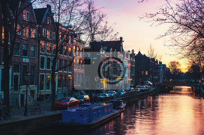 Sunset over Amsterdam, Netherlands canals and bridges