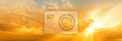Poster sunset sky panorama landscape background natural color of evening landscape with setting sun light coming through clouds panoramic view
