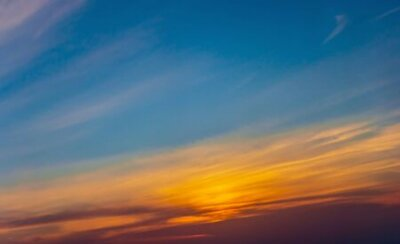 Poster Sunset sky panoramic photo cloud color background