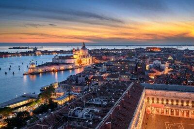 Sunset skyline of Venice with Basilica Santa Maria della Salute and Piazza San Marco