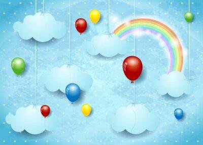 Poster Surreale cloudscape mit bunten Luftballons
