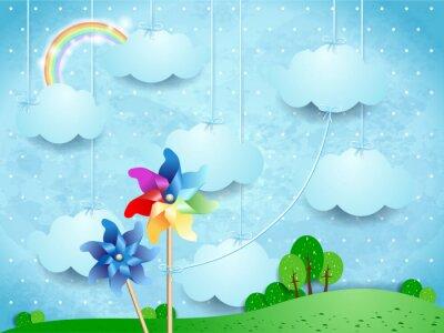 Poster Surreale Landschaft mit Pinwheels und hängenden Wolken