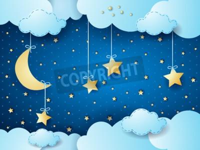 Poster Surreale Nacht, Fantasiewolke scape. Abbildung