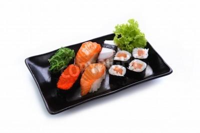 Poster Sushi auf einem weißen Hintergrund isoliert