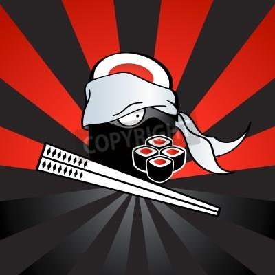Poster Sushi Ninja mit gefährlichen Katana-Stäbchen und würzig Rollen