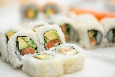 Poster Sushi-Platte mit Stäbchen