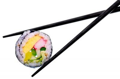 Poster Sushi-Rolle mit schwarzen Stäbchen isoliert auf weißem Hintergrund