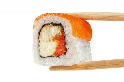 Poster Sushi rollt mit Lachs, Aal, Kaviar und Philadelphia Käse. CH